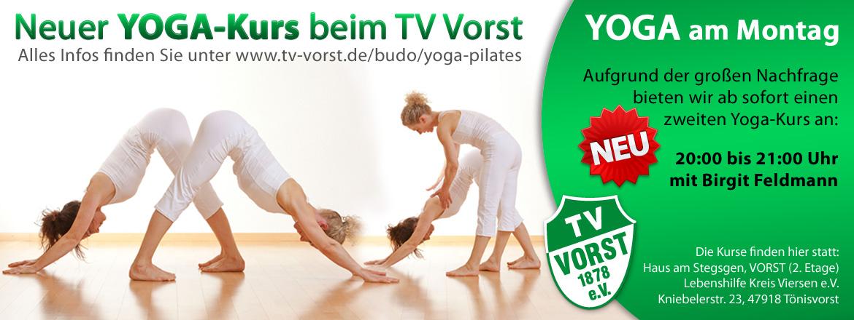 Yoga montags von 20 bis 21 Uhr