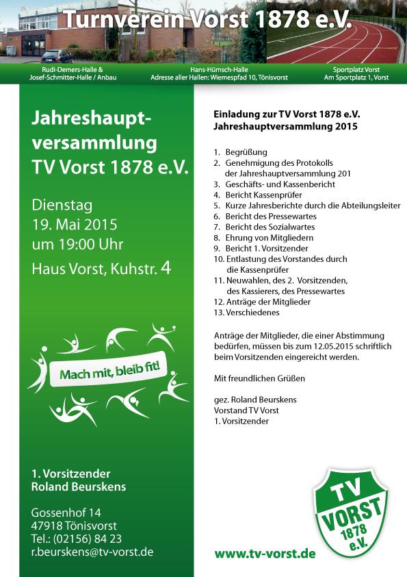 Jahreshauptversammlung TV Vorst DI 19.05.2015 um 19 Uhr