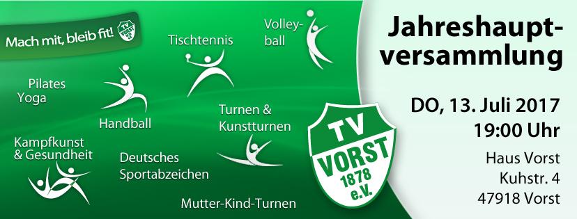 Jahreshauptversammlung TV Vorst 2017