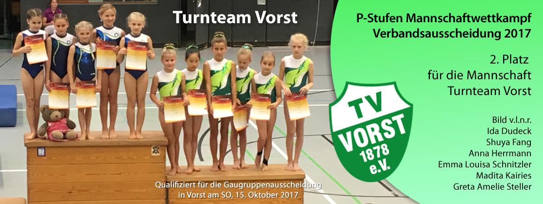 Turnteam Vorst P-Mannschaft Gau Verband 2017 2. Platz
