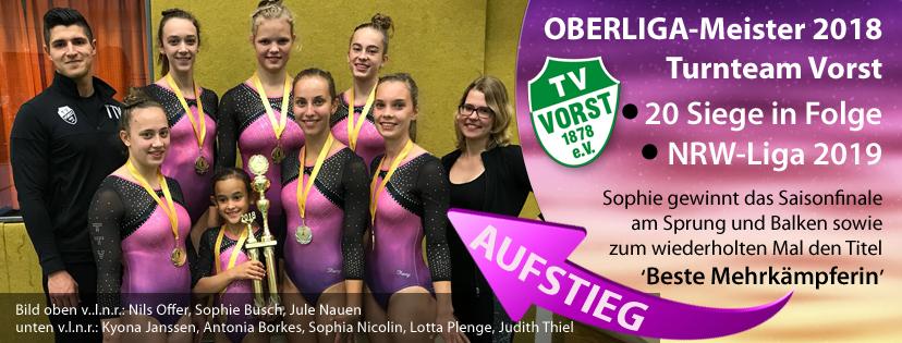 Turnteam Vorst 1. Mannschaft RTB Oberliga Meister 2018