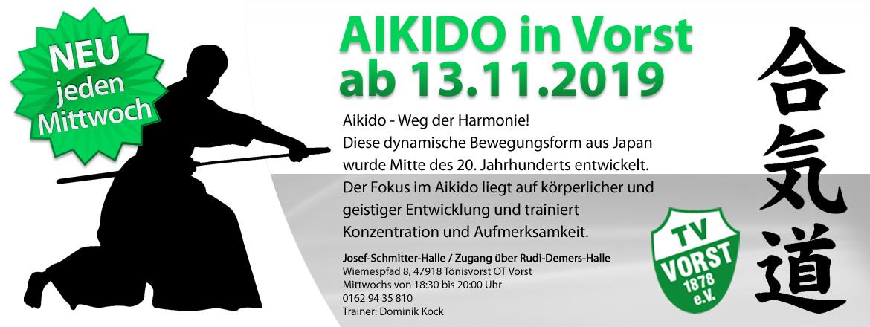 Aikido ab 13.11.19 jeden Mittwoch von 18.30 bis 20 Uhr