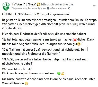 Feedback Online-Fitness mit Julia Gericke-Steeg