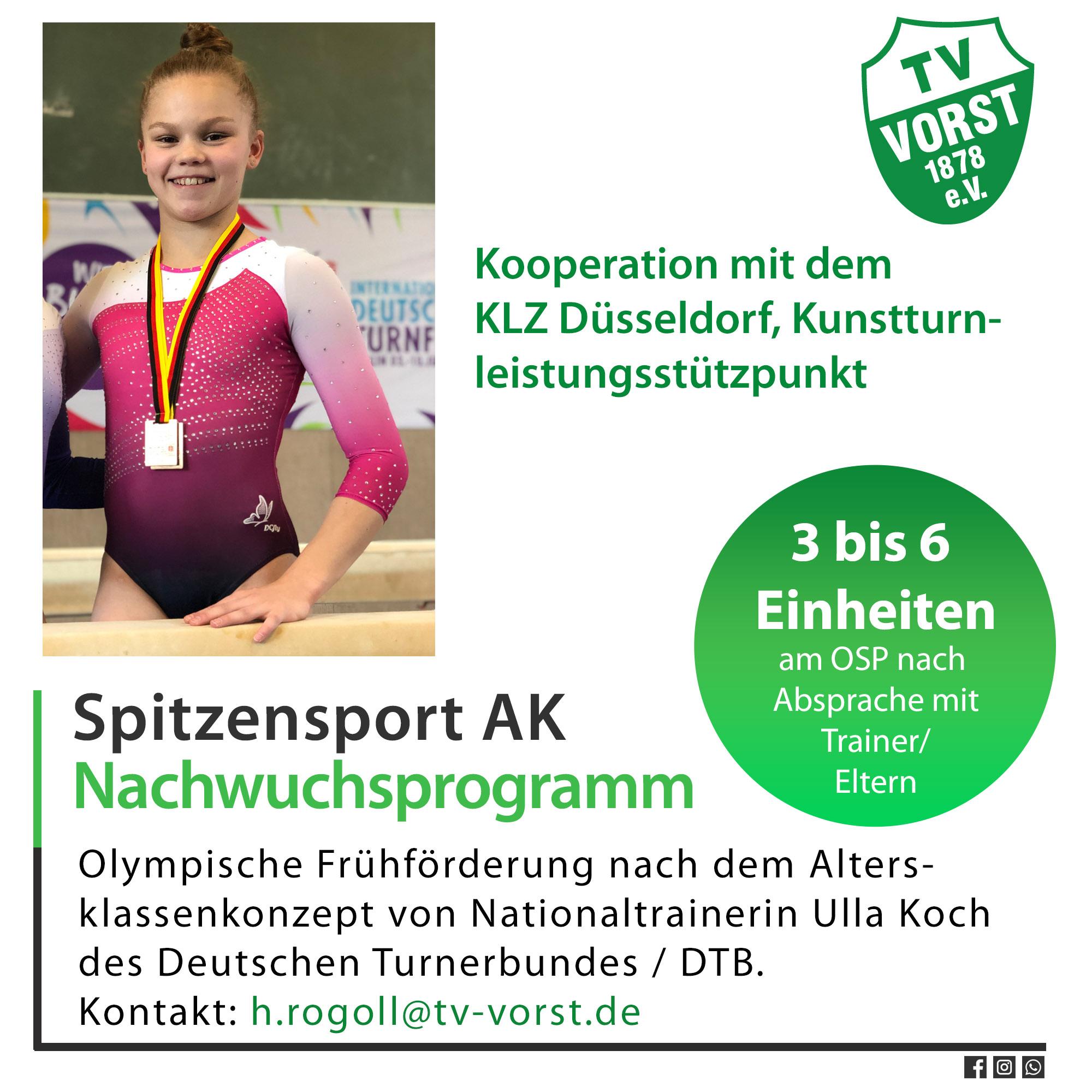 Kunstturnen AK Programm Spitzensport Turnen in Vorst, Maya Reichwald