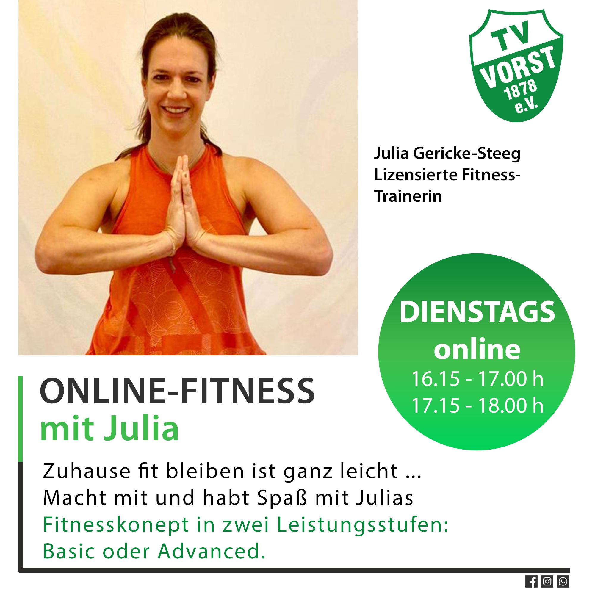 TV Vorst Online-Fitness mit Julia Gericke-Steeg